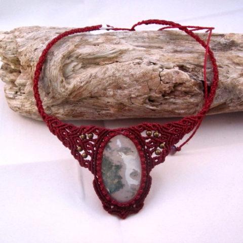 collar ágata musgo rojo