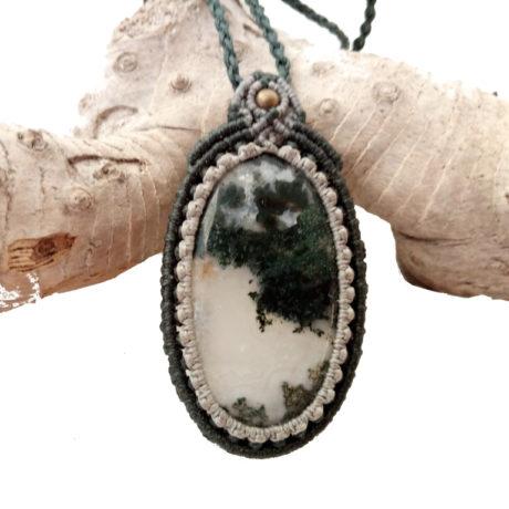 Collar largo agata musgo gris verde