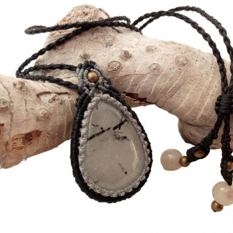 Collar cuarzo con turmalina