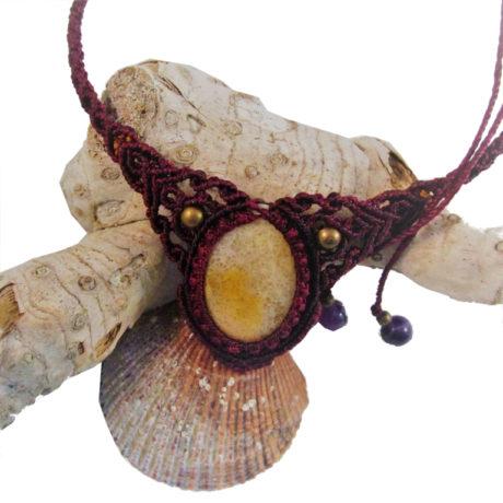 Collar coral granate berengena